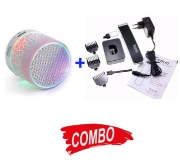 KEMEI KM-619 Rechargeable Trimmer + Portable Wireless Bluetooth Speaker Combo Offer