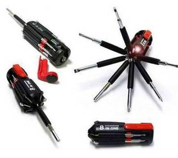 6 In 1 Multi Screw-Driver & Torch - 1 Pcs