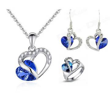 3 in 1 Heart Shaped Blue Stone Setting jewellery Set