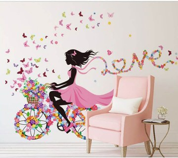 Floral Printed Love Wall Sticker
