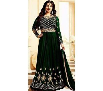Semi-stitched Georgette Embroidery Gown - Copy
