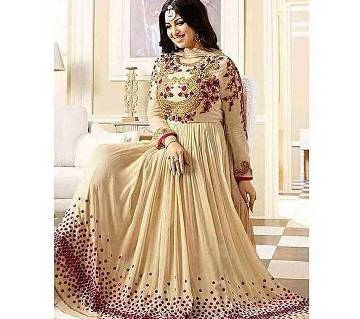 Bisque Unstitched Embroidery Georgette Gown-Copy