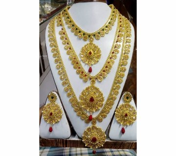 Three layer Gold plated necklace set