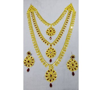 Multicolor stone setting gold plated necklace set