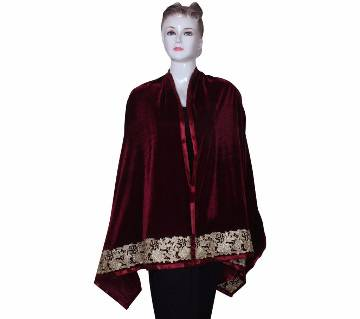 Maroon Velvet Ladies Shawl with  embroidered Lace border