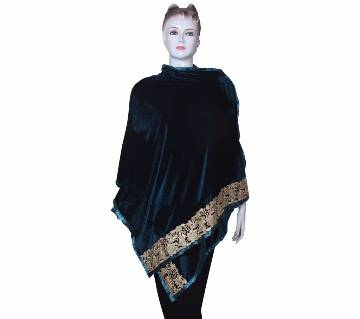 Bottle Green Velvet Ladies Shawl with embroidered Lace border