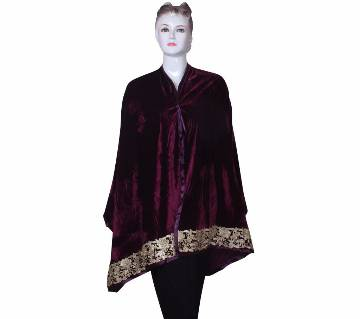 Purple Velvet Ladies Shawl with embroidered Lace border