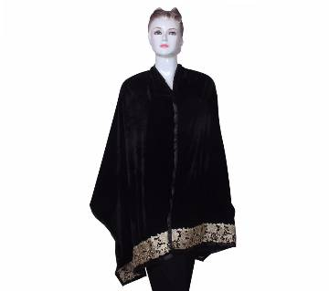 Black Velvet Ladies Shawl with embroidered Lace border