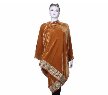 Golden Velvet Ladies Shawl with embroidered Lace border