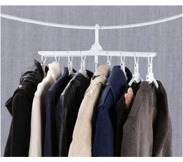 Multi-functional plastic clothes hanger folding