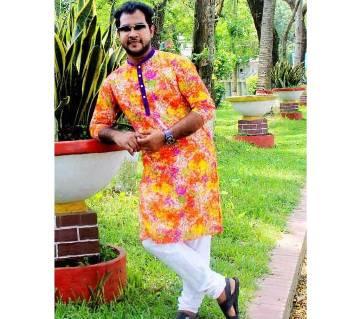 Gents Semi Long Cotton Punjabi with Free Cap