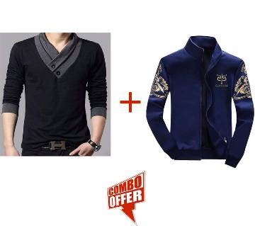 Full Sleeve Gents Casual Jacket+Gents Full Sleeve Tshirt Combo Offer