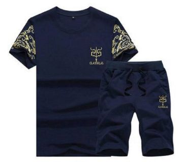 Two In One Mens T-Shirt & Shorts Combo-Blue