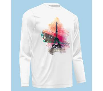 Full Sleeve Eiffel Tower T-Shirt For Men