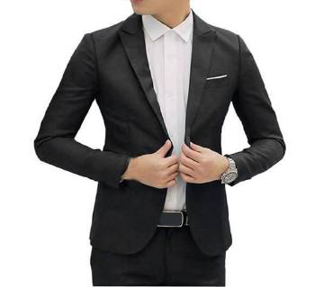 Cotton Casual Blazer-Black