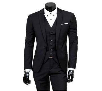 Black Synthetic Casual Blazer For Men