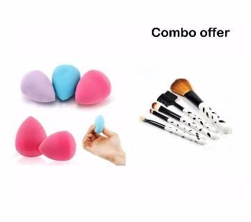5  in 1 Makeup Brush Set & Foundation Blender Sponge Combo