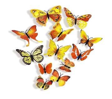 12 Pcs 3D Double Wings Butterfly ওয়াল স্টিকার