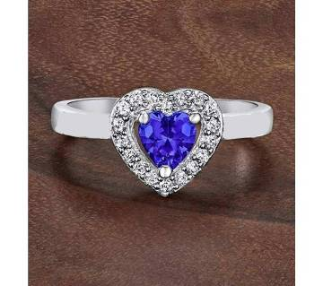 Blue Stone Heart Shape Finger Ring