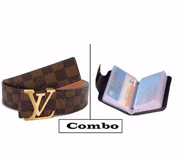 Louis Vuitton Belt (copy) & Leather Credit Card Holder Combo