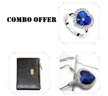 Combo of Titanic Ocean Necklace, wallet & Titanic Finger Ring