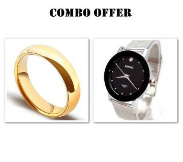 Combo Rose gold Plated Finger Ring & Watch