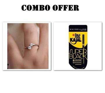 Combo Rose gold Plated Finger Ring & Kajal