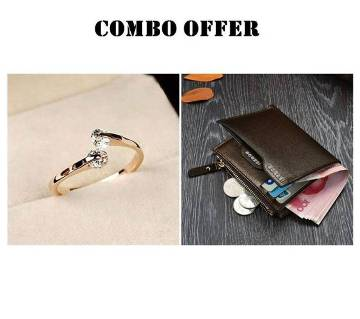 Combo Gold plated Finger Ring and Bogesi Wallet Combo