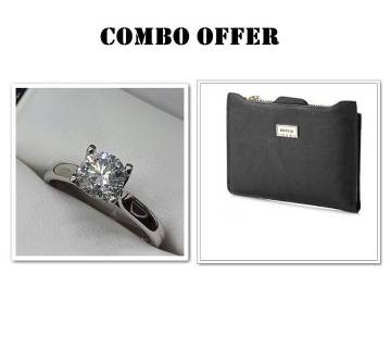 Combo offer Silver plated Finger Ring and Bogesi Wallet