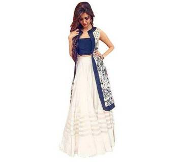 White and navy blue Georgette lehenga