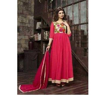 Unstitched georgette Embroidery Long Party Suit copy
