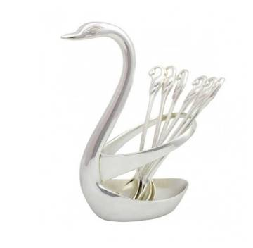 Spoon set with swan holder