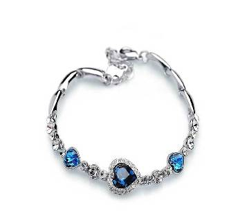 Ocean Blue Silver Crystal Heart shape bracelet