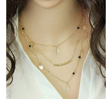 Multilayer chain setting necklace