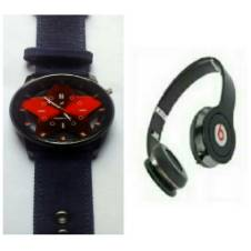 Gents Wristwatch + Beats Solo HD Wired Headphones (Copy) Combo offers