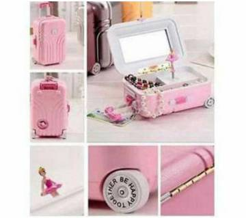 Luggage style musical jewelry box