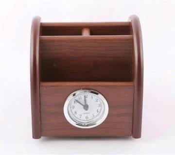Moving Wooden Desktop Pen Holder Clock