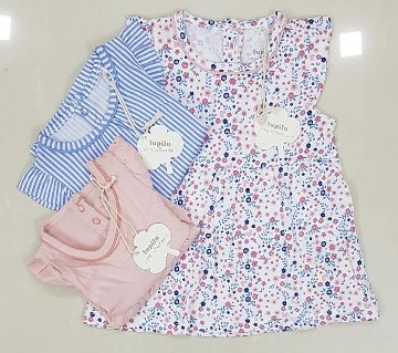 Cotton Frock for Baby Girls - 3 Piece