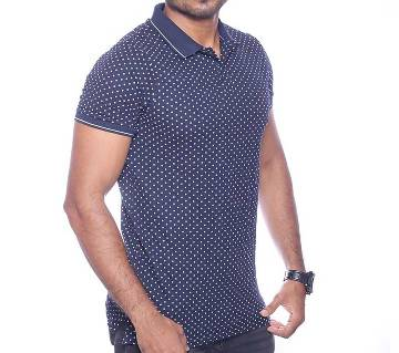 Black Cotton Polo for Men -107