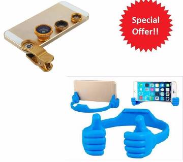 OK Mobile stand+3 in 1 Universal Camera Lens Combo