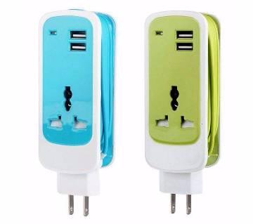 3 In 1 Dual Usb Port Universal Socket