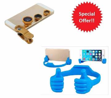 3 in 1 Universal Camera Lens and OK Mobile Stand