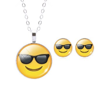 Smile Emoticon Stud Earrings with Pendant
