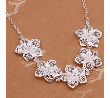 Five Flowers Silver Necklace