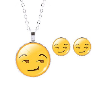 Emoticon Stud Earrings with Pendant