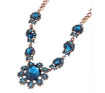 Blue Crystal Sunflower Statement Necklace