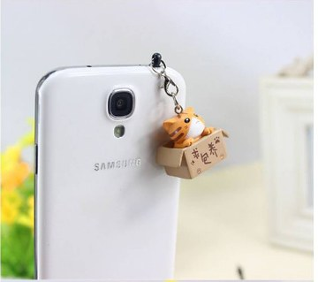 Cute Cat Design Mobile 3.5 mm dust pin
