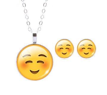 Smile Emoticon Stud Earrings & Pendant