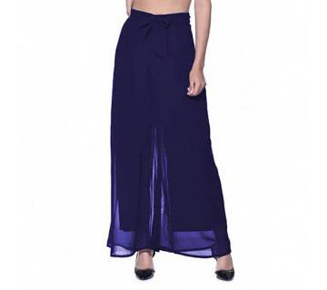 Women Georgette Palazzo-Navy Blue
