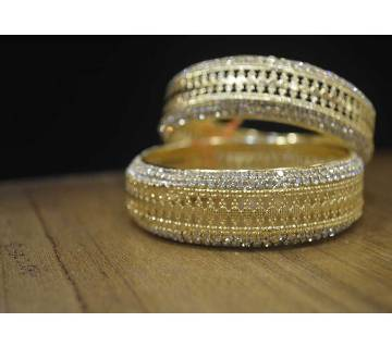 Diamond Cut Stone and Gold Plated bangles